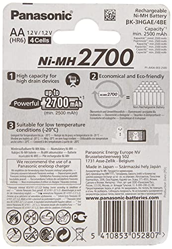 Panasonic High Capacity AA Mignon NI-MH 2700 Akku wiederaufladbar - 2