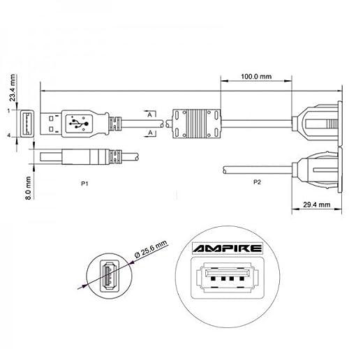 SINUSTEC USB EINBAU/UNTERBAUBUCHSE - 4